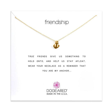 friendship necklace smooth anchor,  gold dipped
