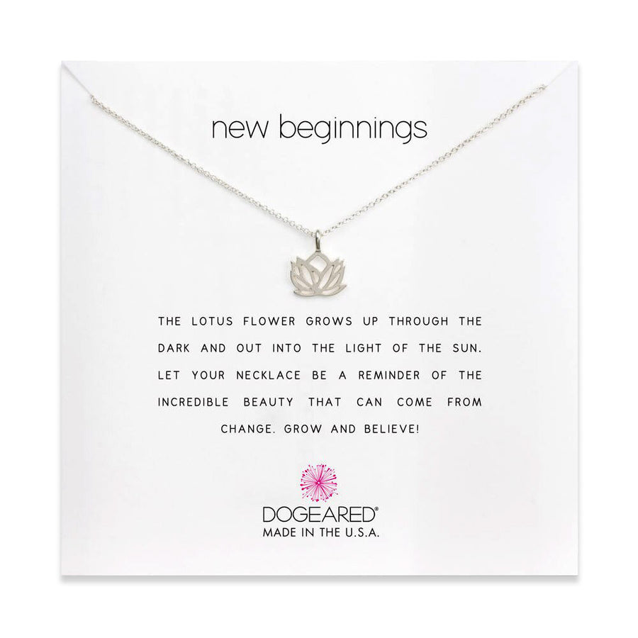 new beginnings lotus necklace, sterling silver