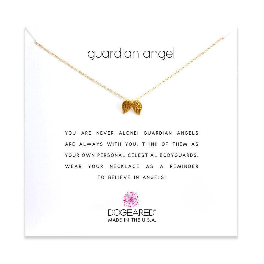 guardian angel necklace, gold dipped