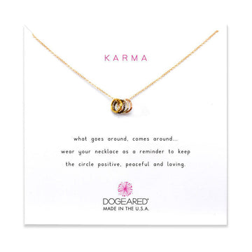 tiny sparkle triple ring karma necklace, mixed metal