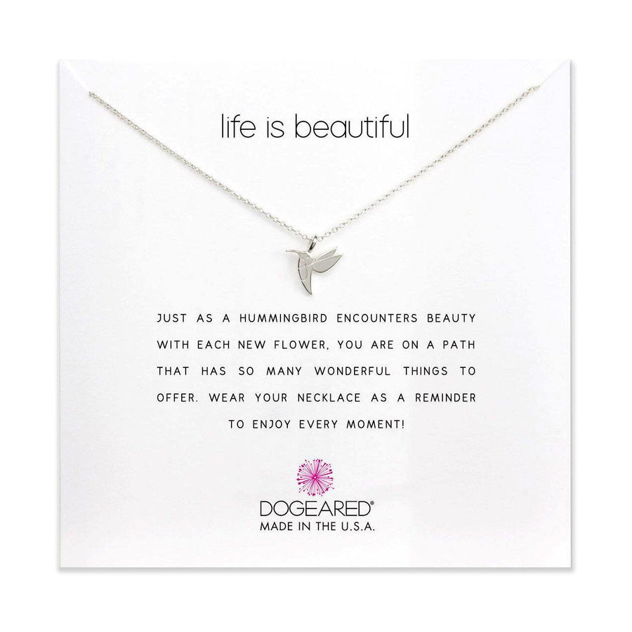 life is beautiful hummingbird necklace