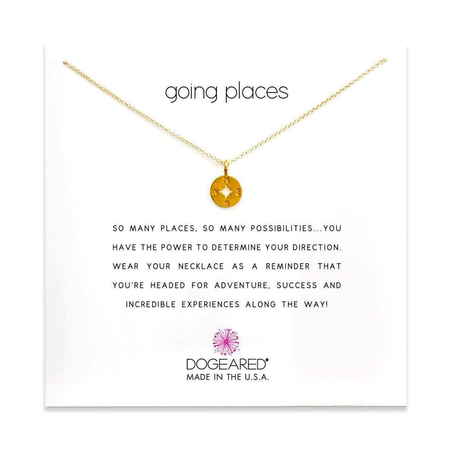 going places compass disc necklace, gold dipped