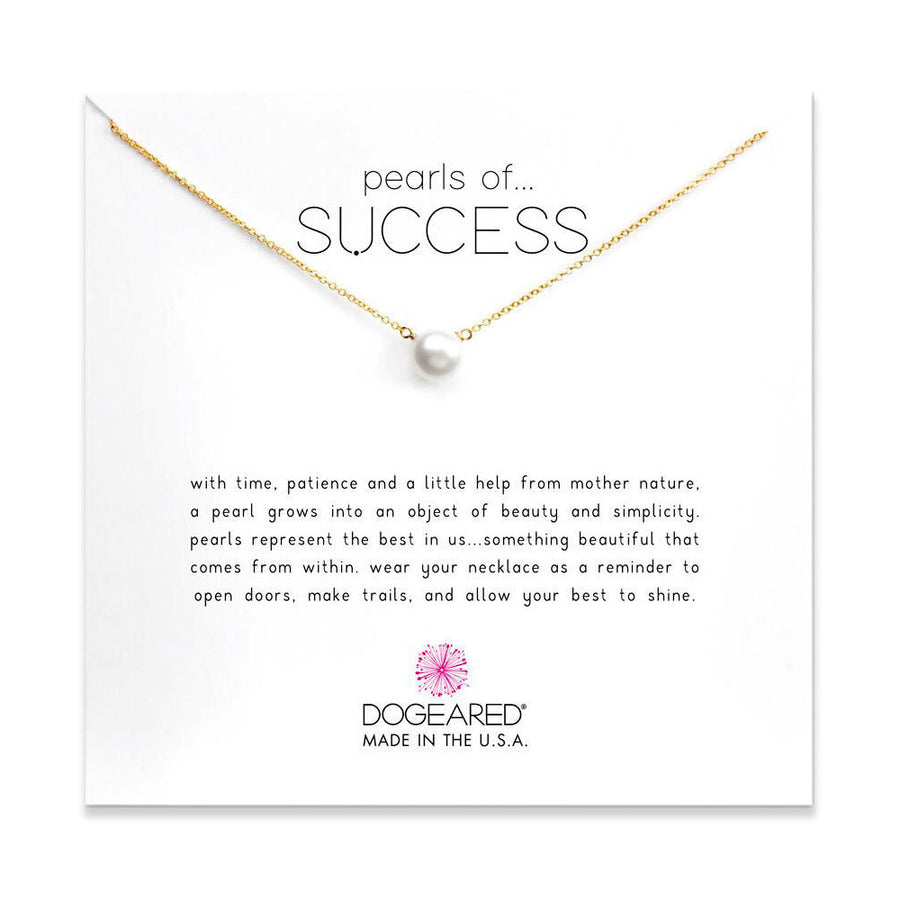 pearls of success large white pearl necklace, gold dipped