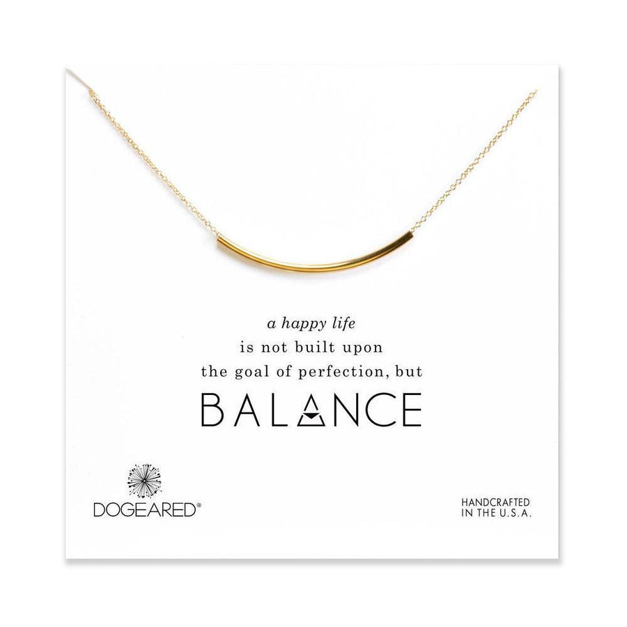 balance tube bar necklace,  gold dipped