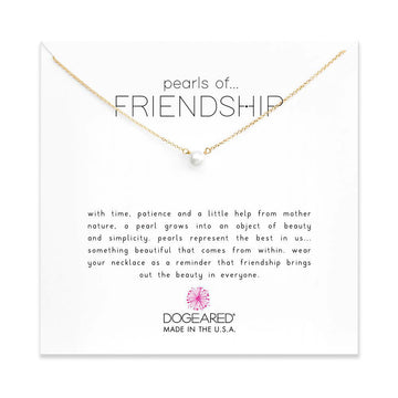pearls of friendship small white pearl necklace, gold dipped