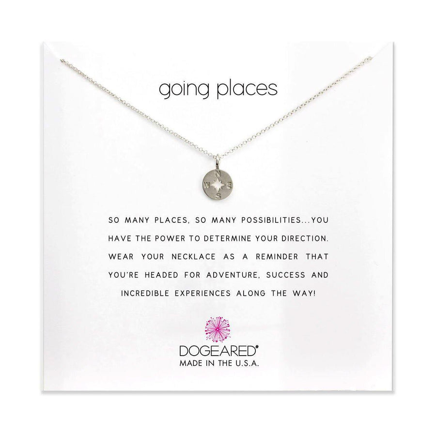 going places compass disc necklace