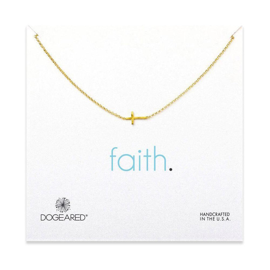 faith small sideways cross necklace, gold dipped