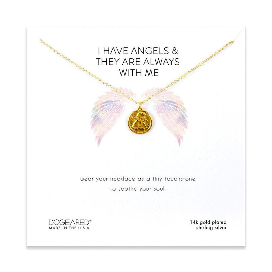 I have angels, mini angel coin necklace, 14K gold dipped