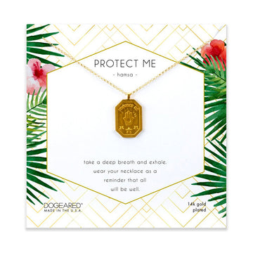 protect me, hamsa tablet necklace, gold plated