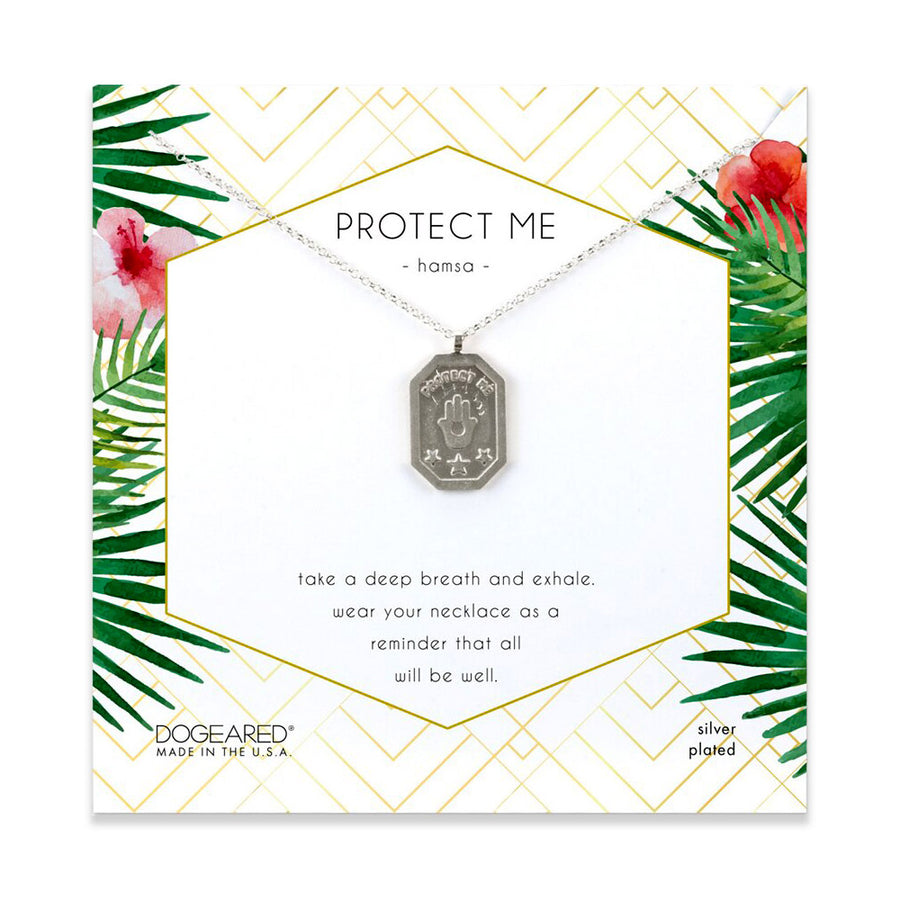 protect me, hamsa tablet necklace, silver plated