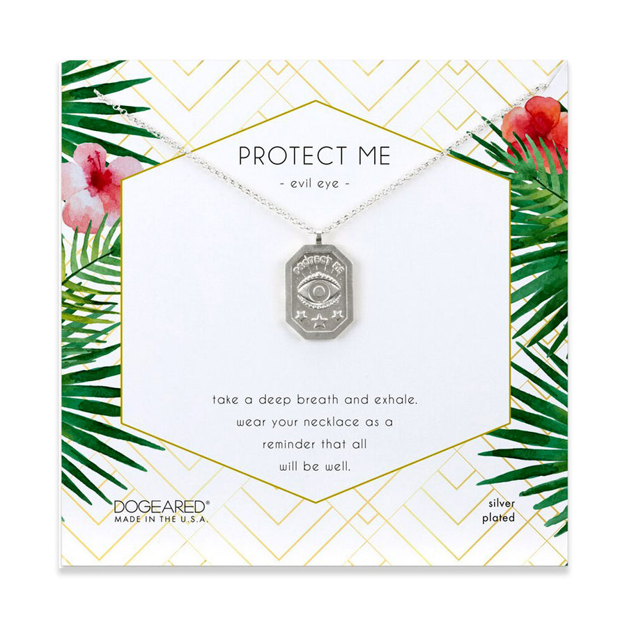 protect me, evil eye tablet necklace, silver plated