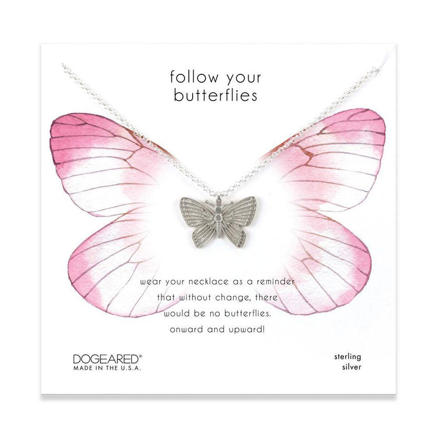 follow your butterflies necklace, sterling silver