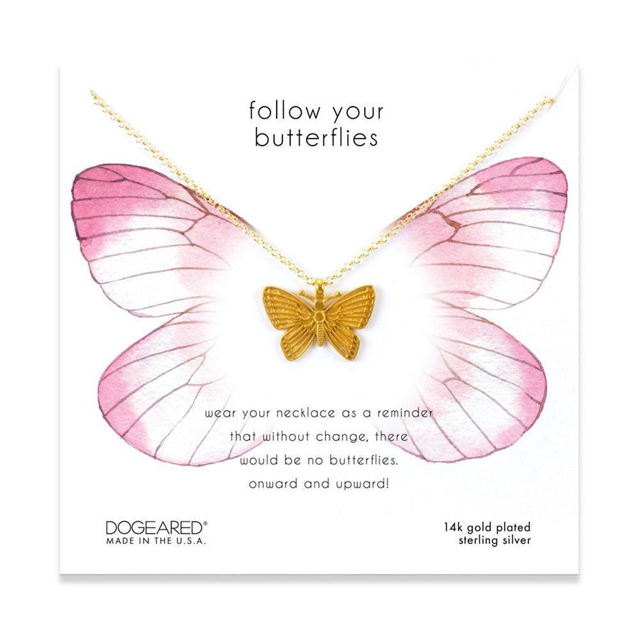 follow your butterflies necklace, 14K gold dipped