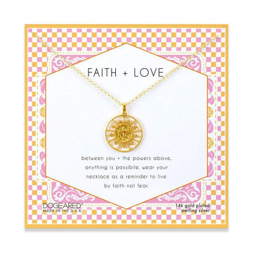 faith & love cross medallion necklace, 14K gold dipped