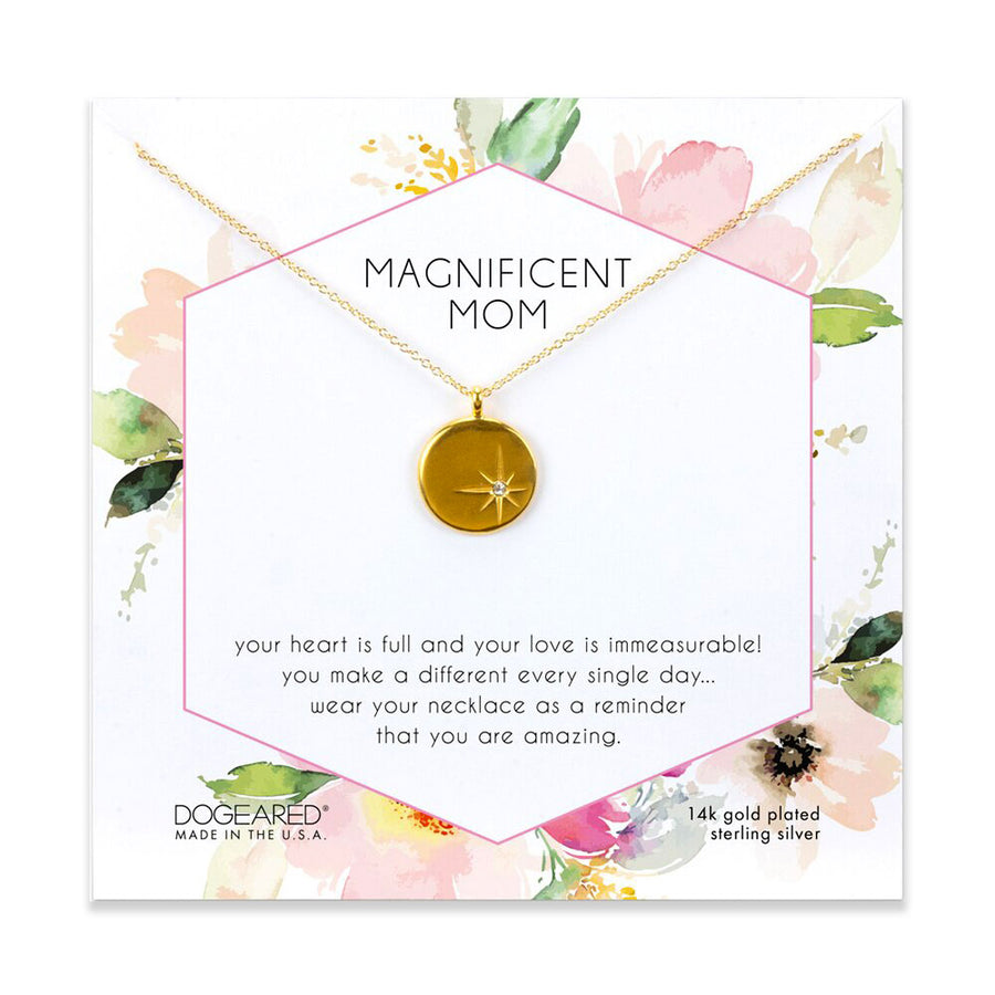magnificent mom,  sparkle star disc,  14K gold plated