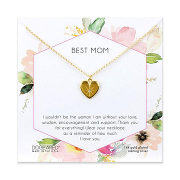 best mom crystal heart necklace, 14K gold plated