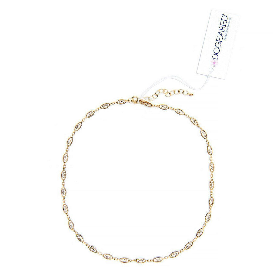 gold dipped filigree chain choker