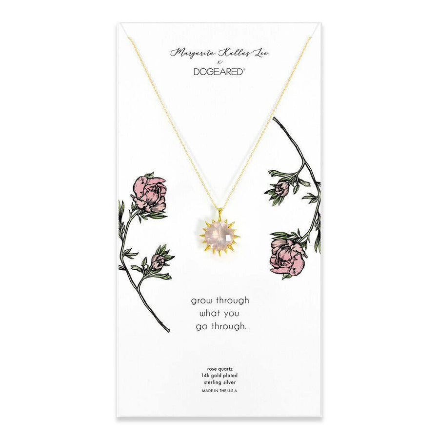 grow through what you go through, rose quartz gold dipped necklace