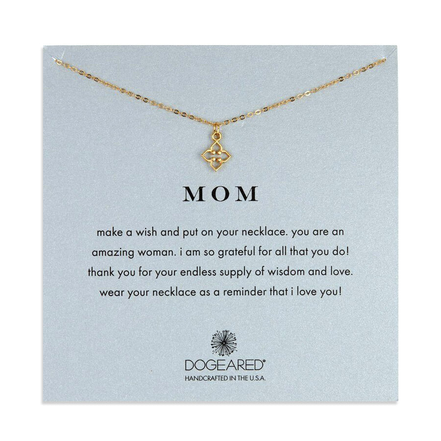 mom open clover necklace
