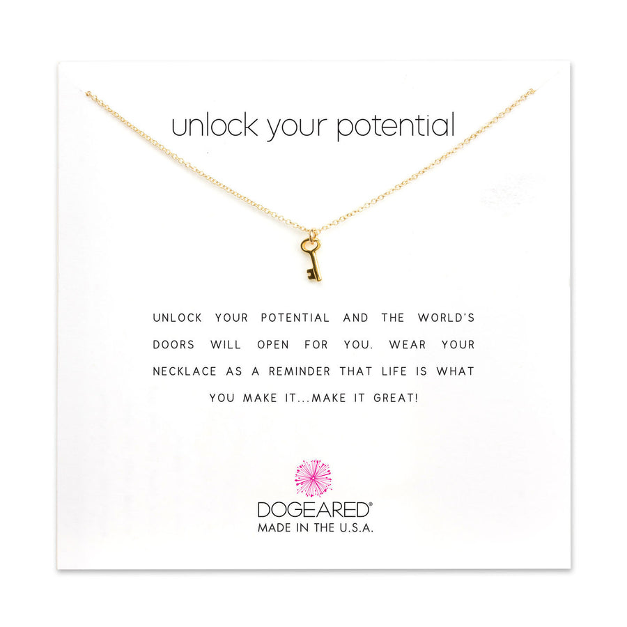 unlock your potential simple key necklace