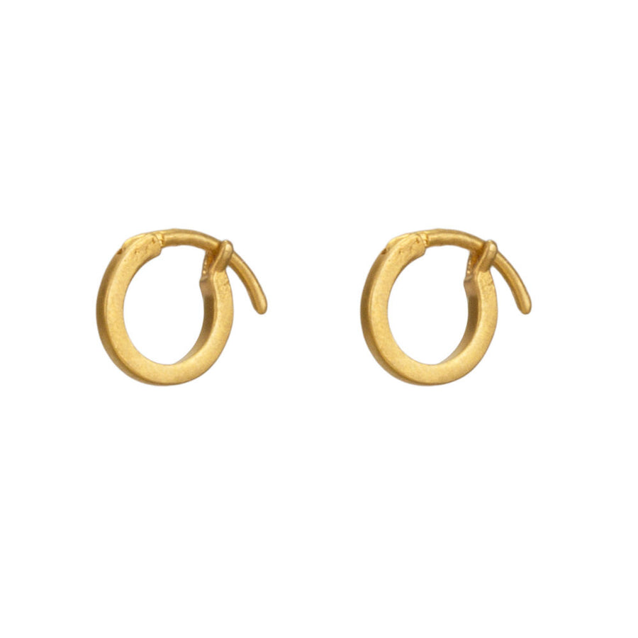 modern everyday huggie earrings, gold plated (Gold)