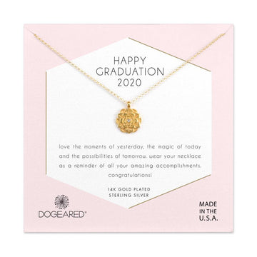 happy graduation 2020 lotus with crystal inset necklace