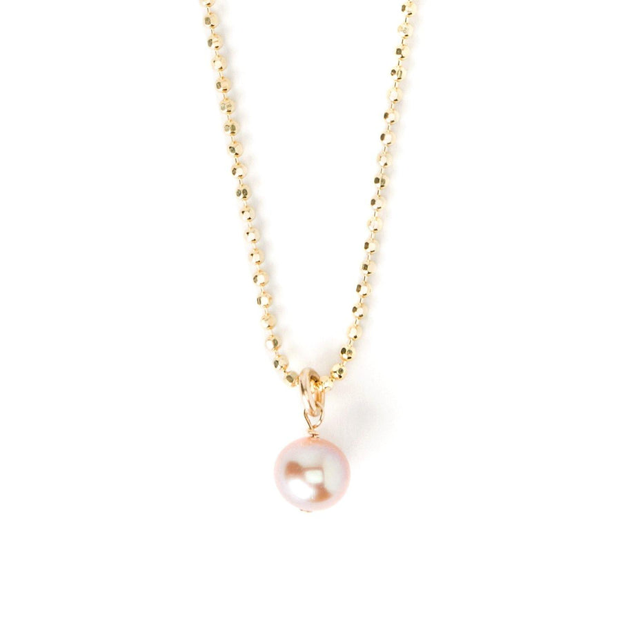 fight for the girls pink pearl on ball chain necklace
