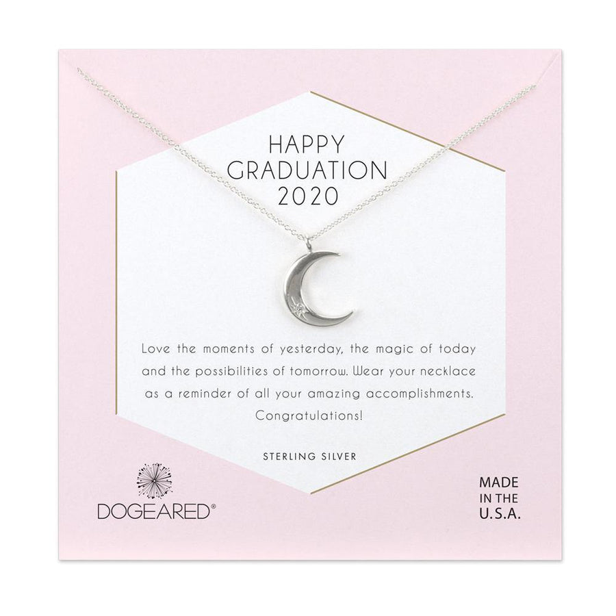 happy graduation 2020 crescent moon with crystal inset necklace
