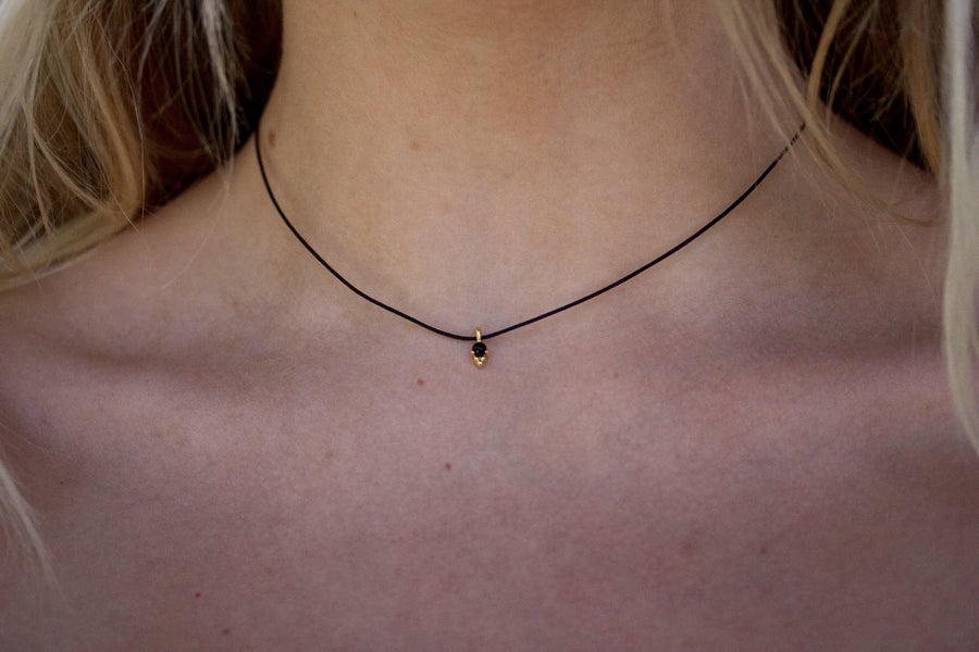 black onyx on black cord choker