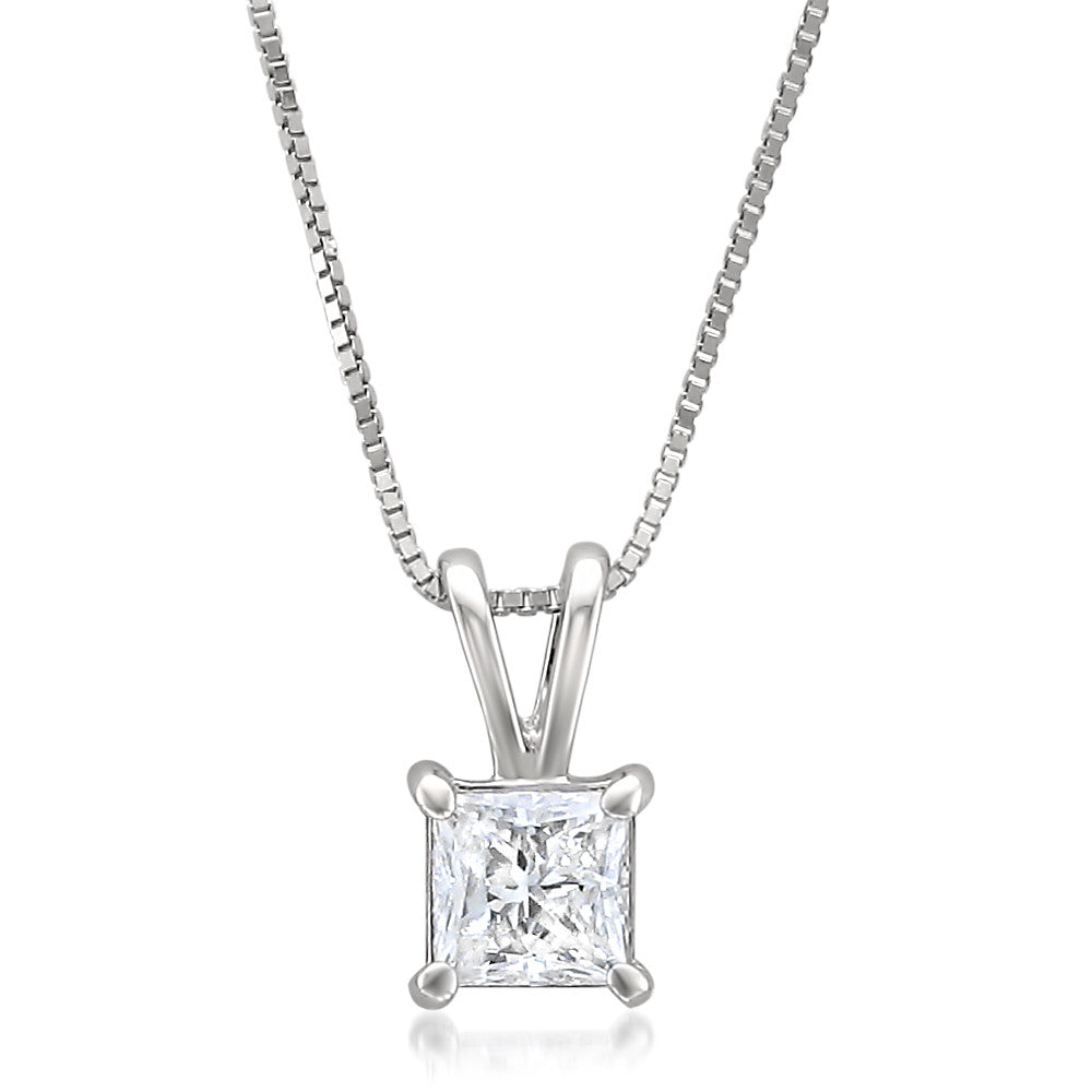 image of princess product necklace pendant charm cut centres diamond starra