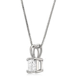 14k White Gold Princess-cut Diamond Solitaire Pendant Necklace (1/2 cttw, I-J, I2)