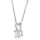 14k White Gold Princess-cut Diamond Solitaire Pendant Necklace (1/4 cttw, H-I, I1-I2)