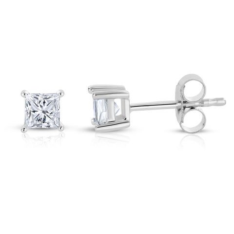 14k White Gold Princess-cut Diamond Stud Earrings (1/10 cttw, I-J, I2-I3)