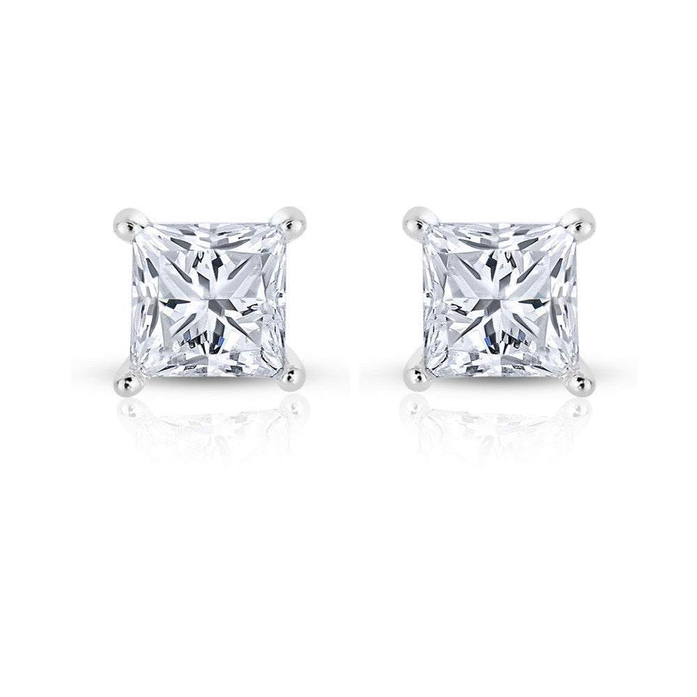 princess earrings white diamond cut polished gemstone stud studs fashion gold