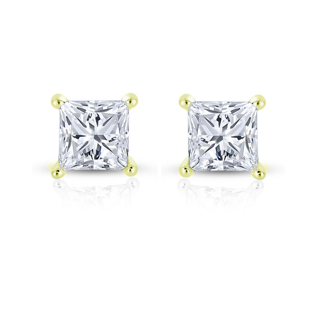 14k Yellow Gold Princess-cut Solitaire Diamond Stud Earrings (1/3 cttw, H-I, SI2-I1)