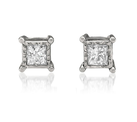 14k White Gold Princess-cut Diamond Stud Earrings (1/4 cttw, H-I, I2-I3)