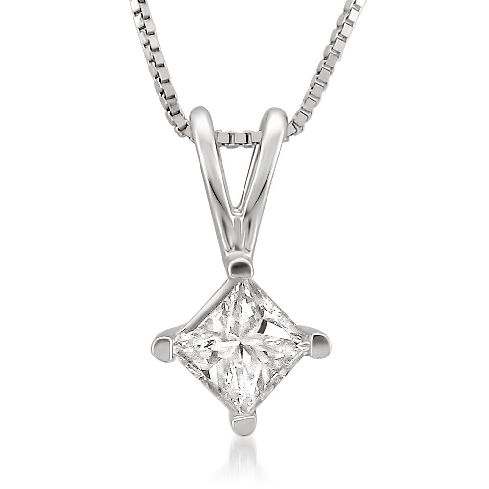 silver womens double zirconia tennis cubic square princess plated rhodium accent necklace cut sterling