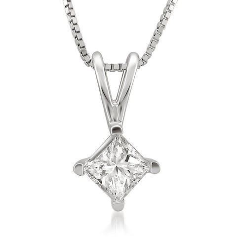 14k White Gold Princess-cut Diamond Solitaire Pendant Necklace (1/3 cttw, I-J, SI2-I1)