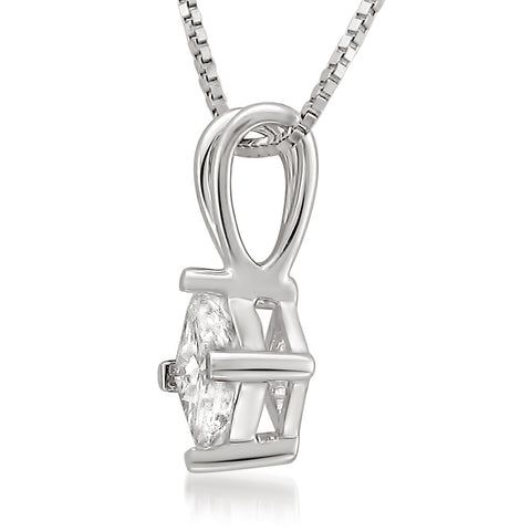 Platinum Princess-cut Diamond Solitaire Pendant Necklace (1/3 cttw, H-I, SI1-SI2)