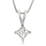 Platinum Princess-cut Diamond Solitaire Pendant Necklace (1/4 cttw, H-I, SI1-SI2)