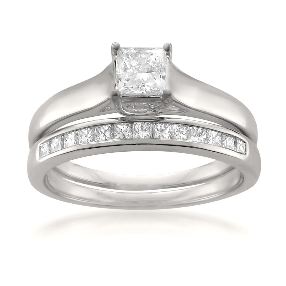 14k White Gold Princess-cut Diamond Engagement Bridal Set Wedding Ring (3/4 cttw, I-J, SI1-SI2)