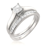 14k White Gold Princess-cut Diamond Engagement Bridal Set Wedding Ring (7/8 cttw, G-H, VS1-VS2)