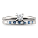 14k White Gold Princess-cut Diamond & Blue Sapphire Wedding Band Ring Set (1/2 cttw, I-J, I2-I3)
