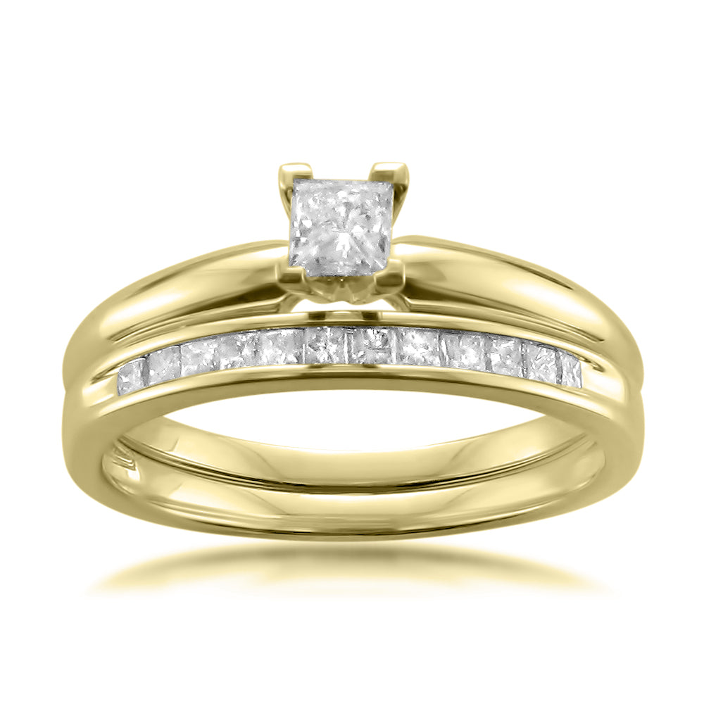 14k Yellow Gold Princess-cut Diamond Solitaire Engagement Bridal Set Wedding Ring (1/2 cttw, I-J, I2-I3)