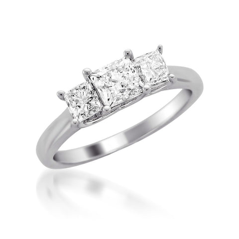 14k White Gold Princess-cut Three-Stone Diamond Engagement Wedding Ring (1 cttw, H-I, SI1-SI2)
