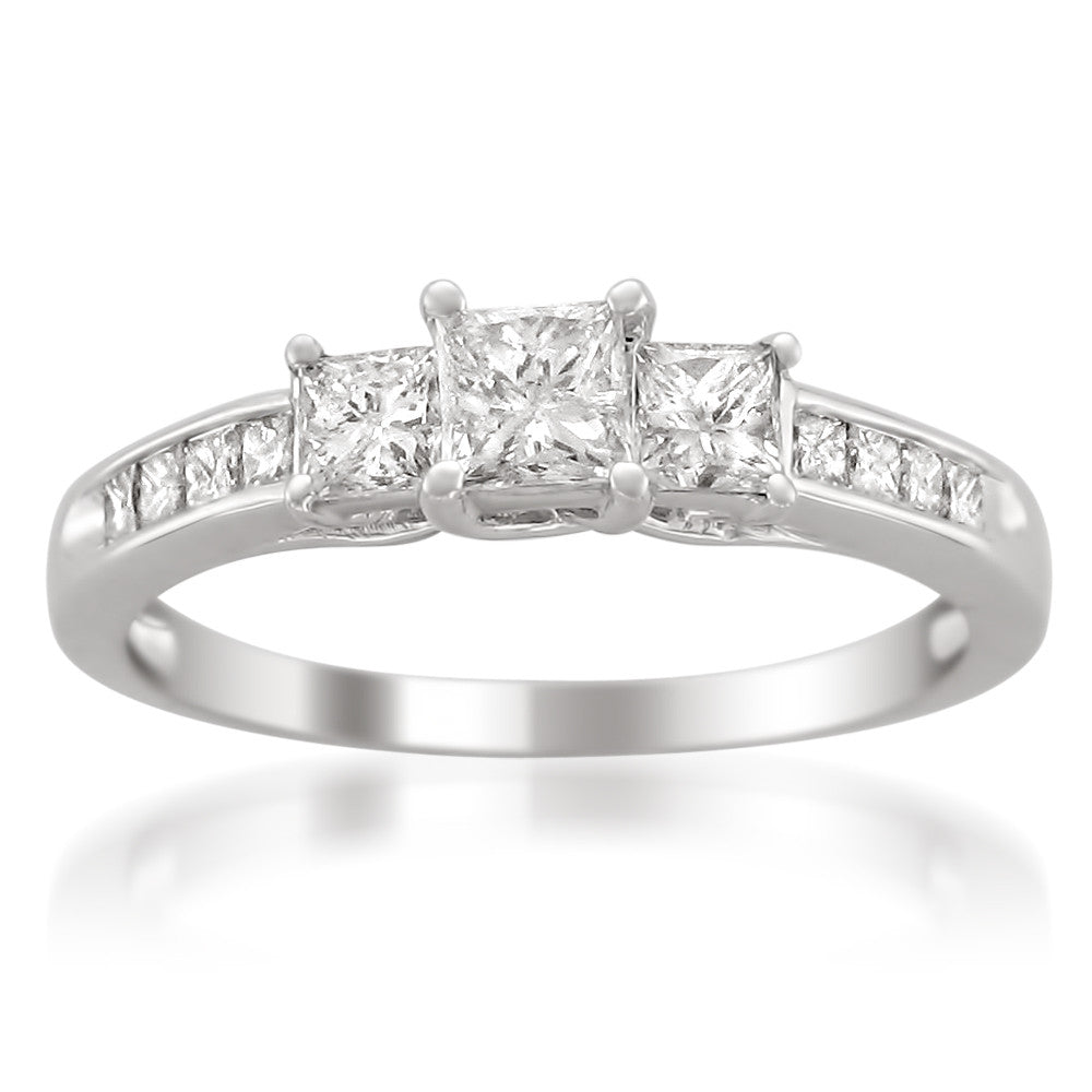 14k White Gold Princess-cut Three-Stone Diamond Engagement Wedding Ring (1 cttw, H-I, I1-I2)