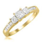 14k Yellow Gold Princess-cut Three-Stone Diamond Engagement Wedding Ring (1 cttw, H-I, I1-I2)