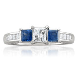 14k White Gold Princess-cut Three-Stone Diamond & Blue Sapphire Engagement Ring (1 1/7 cttw, I-J, I1-I2)