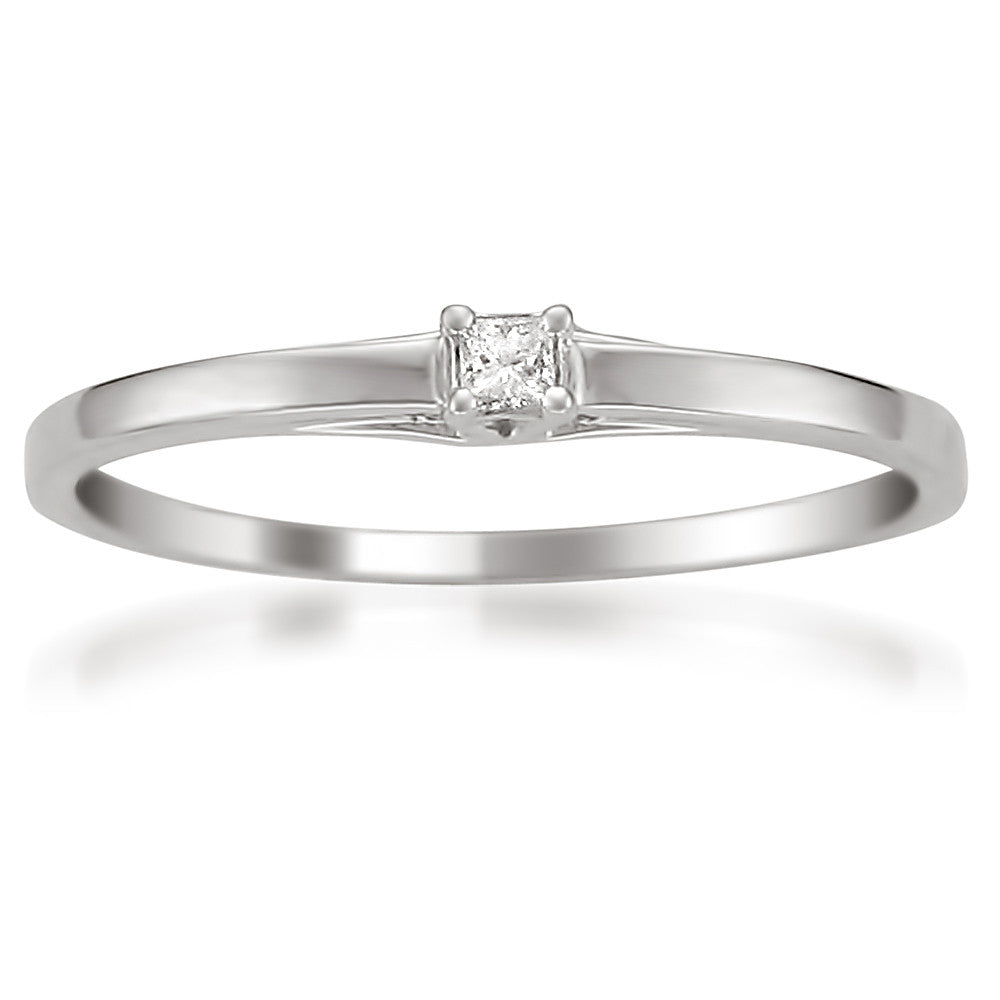 10k white gold princess cut accent promise ring h