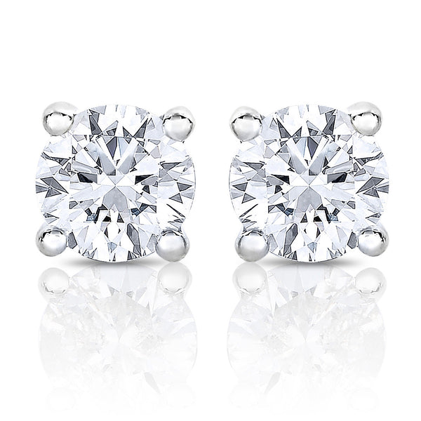 4ef1001a0ea7 14k White Gold Round Solitaire Diamond Stud Earrings (3 8 cttw